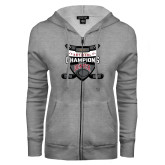 ENZA Ladies Grey Fleece Full Zip Hoodie-DU Mens Lacrosse Champions