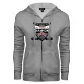 ENZA Ladies Grey Fleece Full Zip Hoodie-2017 Mens NCAA Hockey National Champions