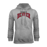 Grey Fleece Hood-Arched University of Denver