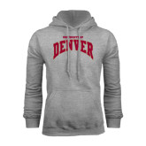 Grey Fleece Hood-Arched U of Denver 2 Color Version