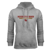 Grey Fleece Hood-University of Denver Pioneers Bar Stacked