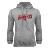 Grey Fleece Hood-University of Denver Pioneers Slanted w/ Logo