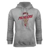 Grey Fleece Hood-Pioneers Slanted Lacrosse Head