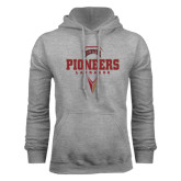 Grey Fleece Hood-Pioneers Lacrosse Geometric Stick Head