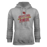 Grey Fleece Hood-Pioneers Hockey Slanted Banner Text