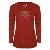 Ladies Syntrel Performance Cardinal Longsleeve Shirt-Denver Pioneers Lacrosse