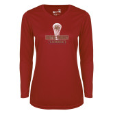 Ladies Syntrel Performance Cardinal Longsleeve Shirt-DU Lacrosse