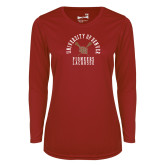 Ladies Syntrel Performance Cardinal Longsleeve Shirt-Pioneers Lacrosse