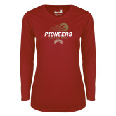 Ladies Syntrel Performance Cardinal Longsleeve Shirt-Pioneers Lacrosse Denver