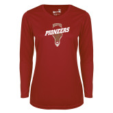 Ladies Syntrel Performance Cardinal Longsleeve Shirt-Pioneers LAX