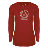 Ladies Syntrel Performance Cardinal Longsleeve Shirt-DU Tennis