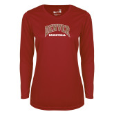 Ladies Syntrel Performance Cardinal Longsleeve Shirt-Denver Basketball