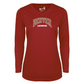 Ladies Syntrel Performance Cardinal Longsleeve Shirt-Denver Lacrosse