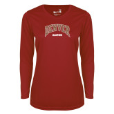 Ladies Syntrel Performance Cardinal Longsleeve Shirt-Denver Alumni