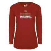 Ladies Syntrel Performance Cardinal Longsleeve Shirt-DU Basketball
