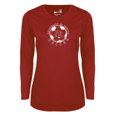 Ladies Syntrel Performance Cardinal Longsleeve Shirt-DU Soccer