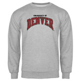 Grey Fleece Crew-Arched University of Denver