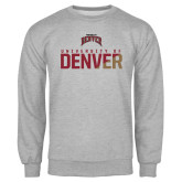 Grey Fleece Crew-Stacked University of Denver - Two Tone