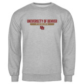 Grey Fleece Crew-University of Denver Pioneers Bar Stacked