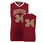 Replica Maroon Adult Basketball Jersey-#34