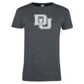 Ladies Dark Heather T Shirt-Primary Mark White Soft Glitter