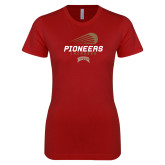Next Level Ladies SoftStyle Junior Fitted Cardinal Tee-Pioneers Lacrosse Denver