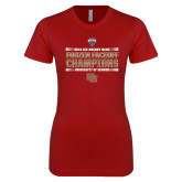 Next Level Ladies SoftStyle Junior Fitted Cardinal Tee-2018 NCHC Ice Hockey Champions