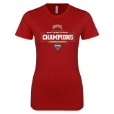 Next Level Ladies SoftStyle Junior Fitted Cardinal Tee-2018 Ice Hockey Champions