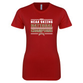 Next Level Ladies SoftStyle Junior Fitted Cardinal Tee-2018 NCAA Skiing National Champions