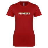 Next Level Ladies Softstyle Junior Fitted Cardinal Tee-Pioneers Two Tone