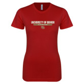 Next Level Ladies Softstyle Junior Fitted Cardinal Tee-University of Denver Pioneers Bar Stacked