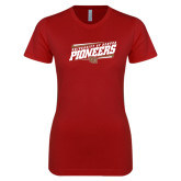 Next Level Ladies Softstyle Junior Fitted Cardinal Tee-University of Denver Pioneers Slanted w/ Logo