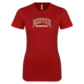 Next Level Ladies SoftStyle Junior Fitted Cardinal Tee-Denver Basketball