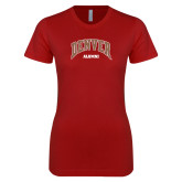Next Level Ladies SoftStyle Junior Fitted Cardinal Tee-Denver Alumni