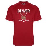 Under Armour Cardinal Tech Tee-Denver Hockey Tall Crossed Sticks