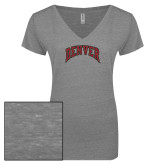 ENZA Ladies Graphite Melange V Neck Tee-Primary Mark