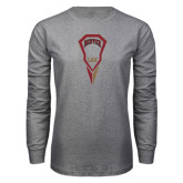Grey Long Sleeve T Shirt-Denver LAX Geometric Stick