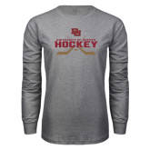 Grey Long Sleeve T Shirt-University of Denver Hockey Crossed Sticks
