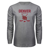 Grey Long Sleeve T Shirt-Denver Hockey Tall Crossed Sticks