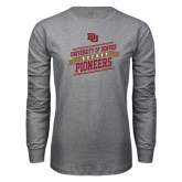 Grey Long Sleeve T Shirt-Pioneers Hockey Slanted Banner Text