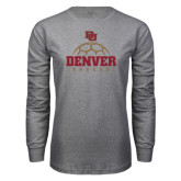 Grey Long Sleeve T Shirt-Denver Soccer Half Ball