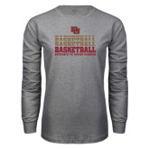 Grey Long Sleeve T Shirt-Basketball Repeating