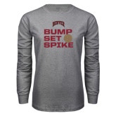 Grey Long Sleeve T Shirt-Bump Set Spike Volleyball