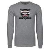 Grey Long Sleeve T Shirt-2017 Mens NCAA Hockey National Champions