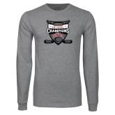 Grey Long Sleeve T Shirt-2017 Mens NCAA Hockey National Champions