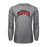 Grey Long Sleeve TShirt-Arched University of Denver