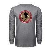 Grey Long Sleeve T Shirt-Skier Jumping Ski Design