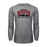 Grey Long Sleeve T Shirt-Lacrosse Capital of the West