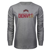 Grey Long Sleeve T Shirt-Stacked University of Denver - Two Tone
