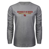 Grey Long Sleeve T Shirt-University of Denver Pioneers Bar Stacked